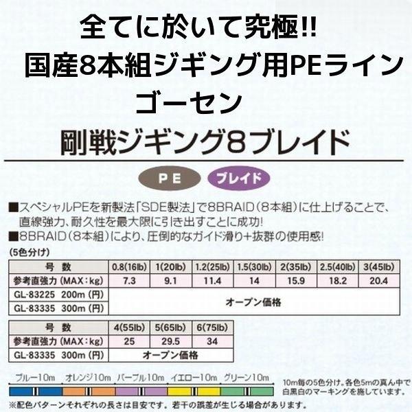 画像3: ゴーセン 剛戦ジギング 8ブレイド(8本組)300m 5号 65LB