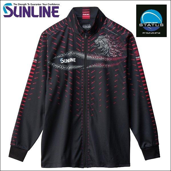 画像1: (31%引) サンライン フルジップアップシャツ S〜4L SUW-5568HT ブラック 黒 ステータス フィッシング ウエア(2018秋冬 最新 新作モデル)