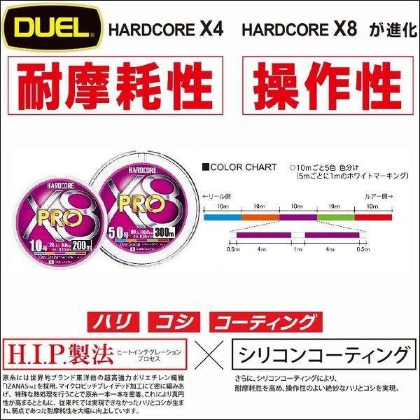 画像1: DUEL ハードコア X8 PRO プロ 0.6号(13lb)〜2号(35lb) 200m 5色分け デュエル ヨーヅリ 日本製 国産 8本組PEライン