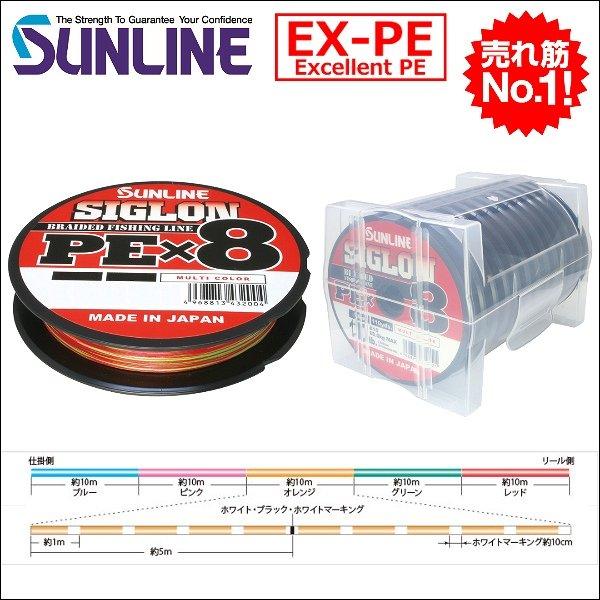 画像1: サンライン SIGLON PE×8ブレイド 0.6号10LB〜12号160LB 100m連結 マルチカラー 5色分け シグロンPEx8 国産8本組PEライン