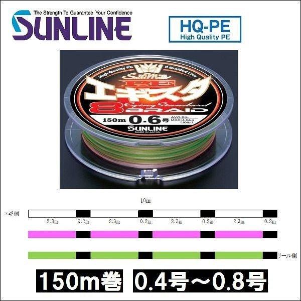画像1: サンライン PE エギスタ 8本組 0.4号 0.5号 0.6号 0.8号 150m 3色分け ソルティメイト 国産 日本製 道糸 エギング ルアー 8本組PEライン